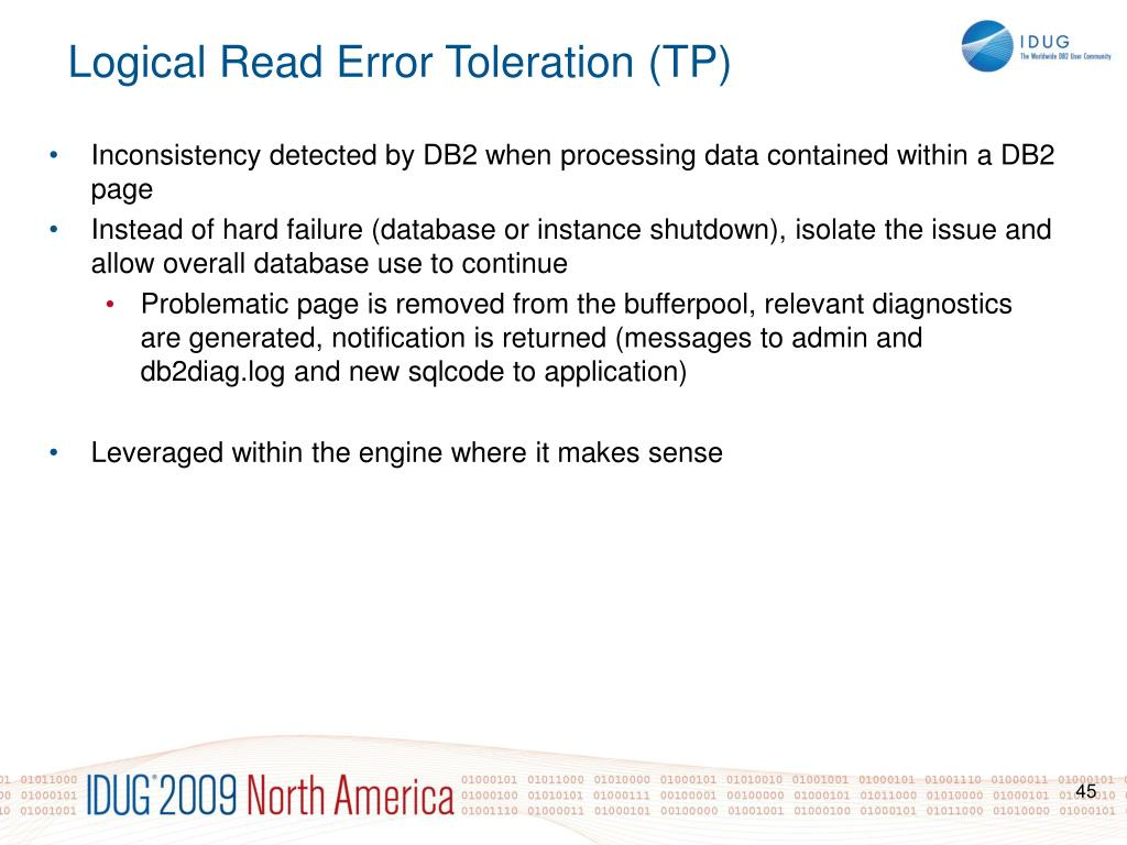 Inconsistency detected by DB2 when processing data contained within a DB2 page