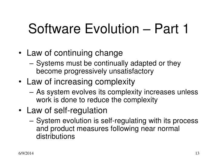 Software Evolution – Part 1