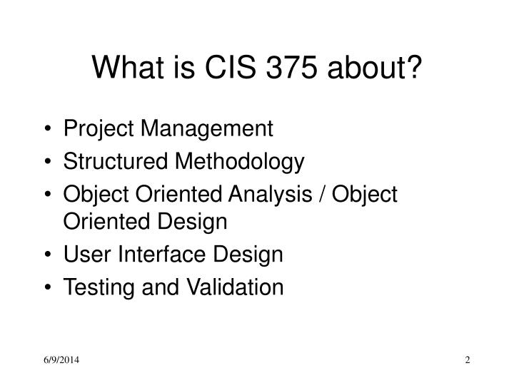 What is cis 375 about
