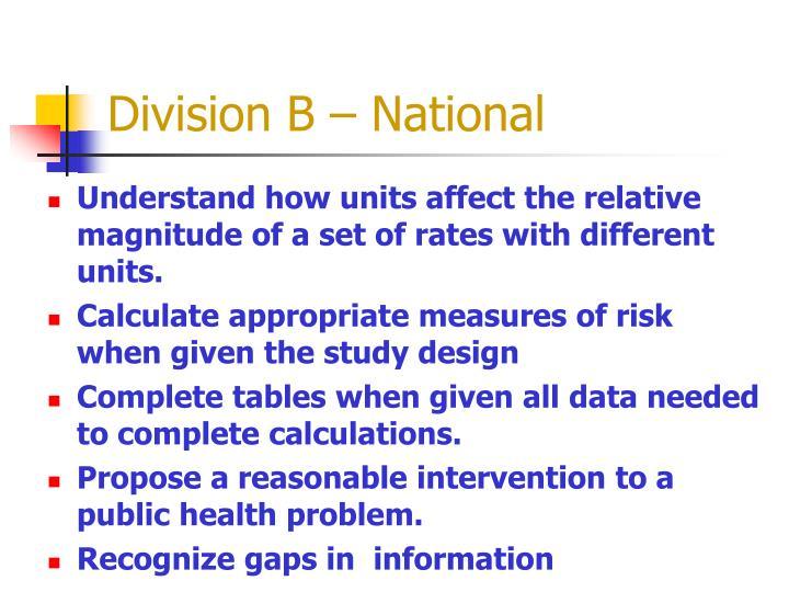 Division B – National