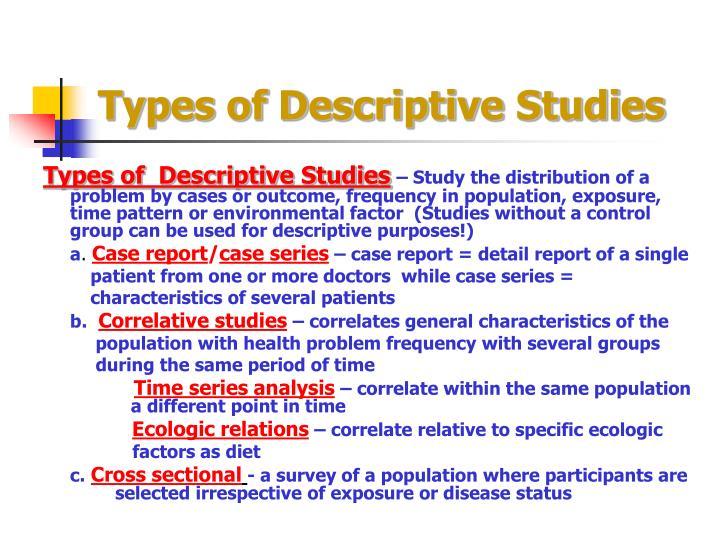 Types of Descriptive Studies