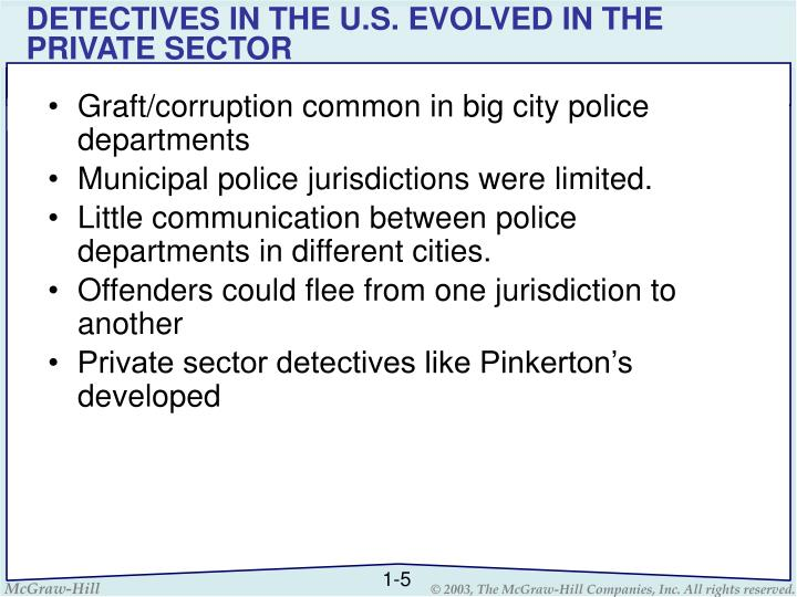 DETECTIVES IN THE U.S. EVOLVED IN THE PRIVATE SECTOR