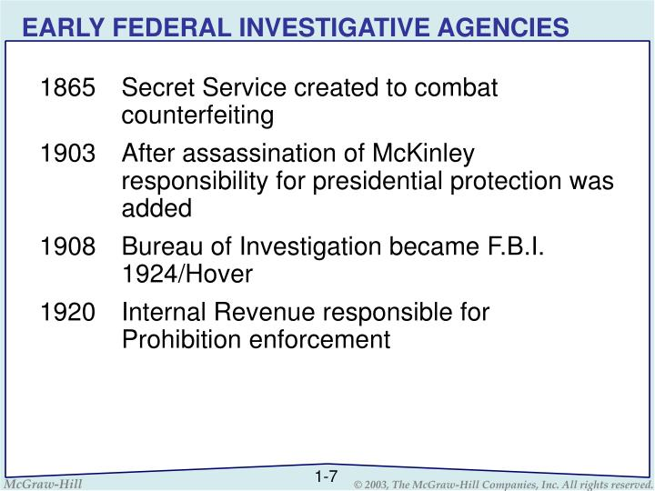 EARLY FEDERAL INVESTIGATIVE AGENCIES