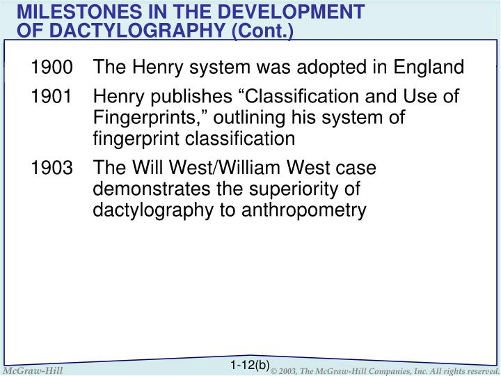 MILESTONES IN THE DEVELOPMENT