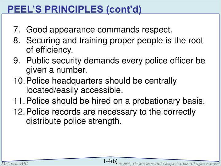 PEEL'S PRINCIPLES (cont'd)