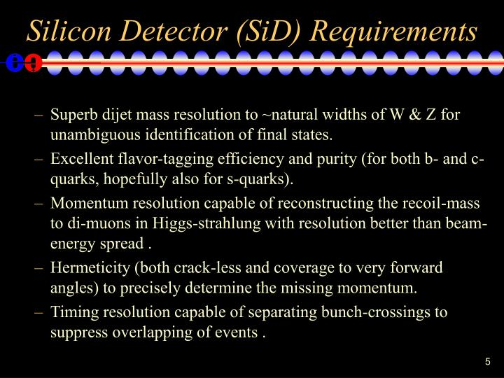 Silicon Detector (SiD) Requirements