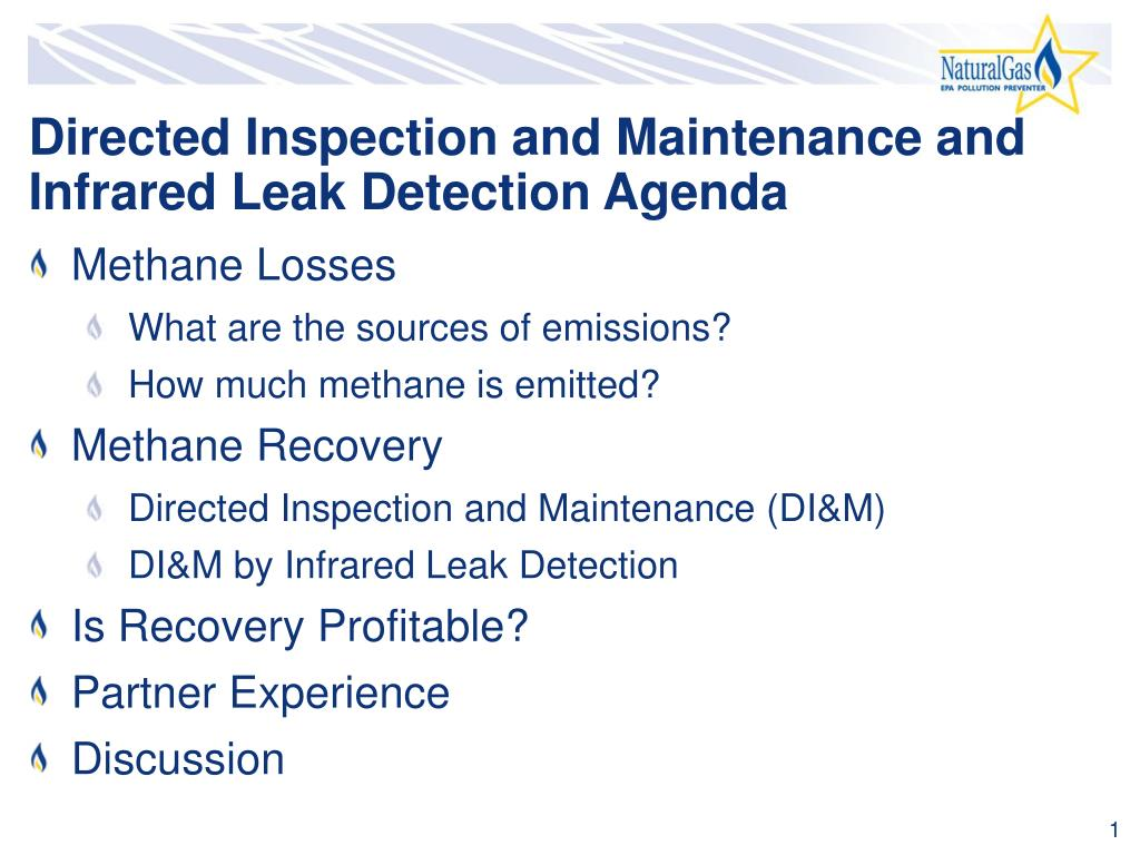 Directed Inspection and Maintenance and Infrared Leak Detection Agenda