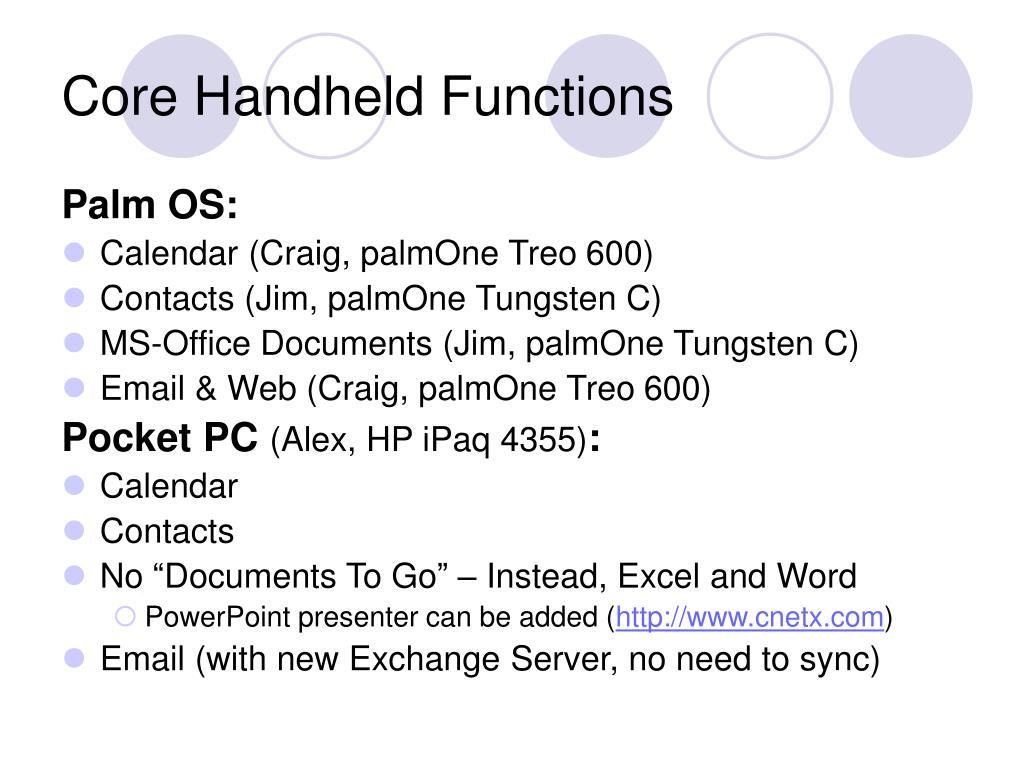 Core Handheld Functions