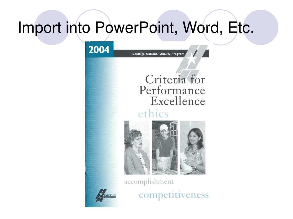 Import into PowerPoint, Word, Etc.