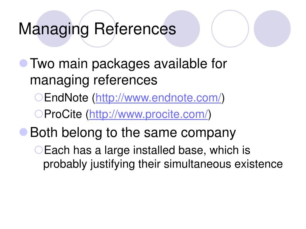 Managing References