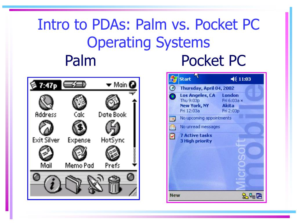 Intro to PDAs: Palm vs. Pocket PC