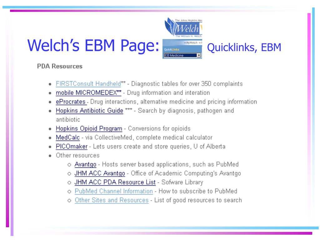 Welch's EBM Page: