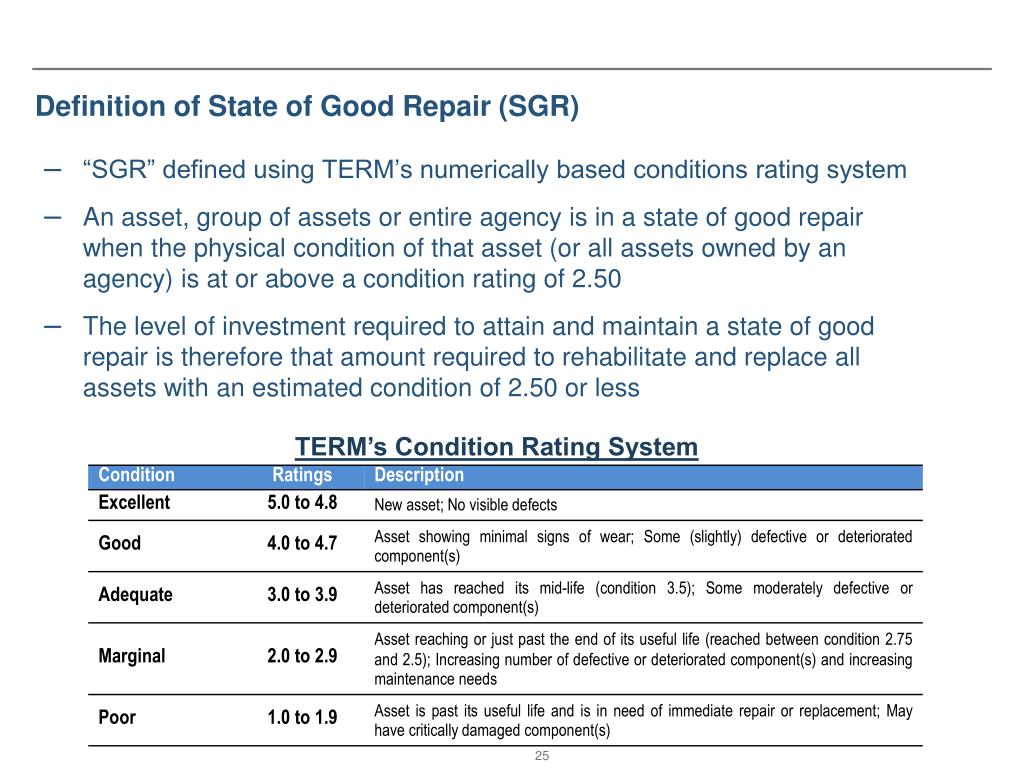 Definition of State of Good Repair (SGR)