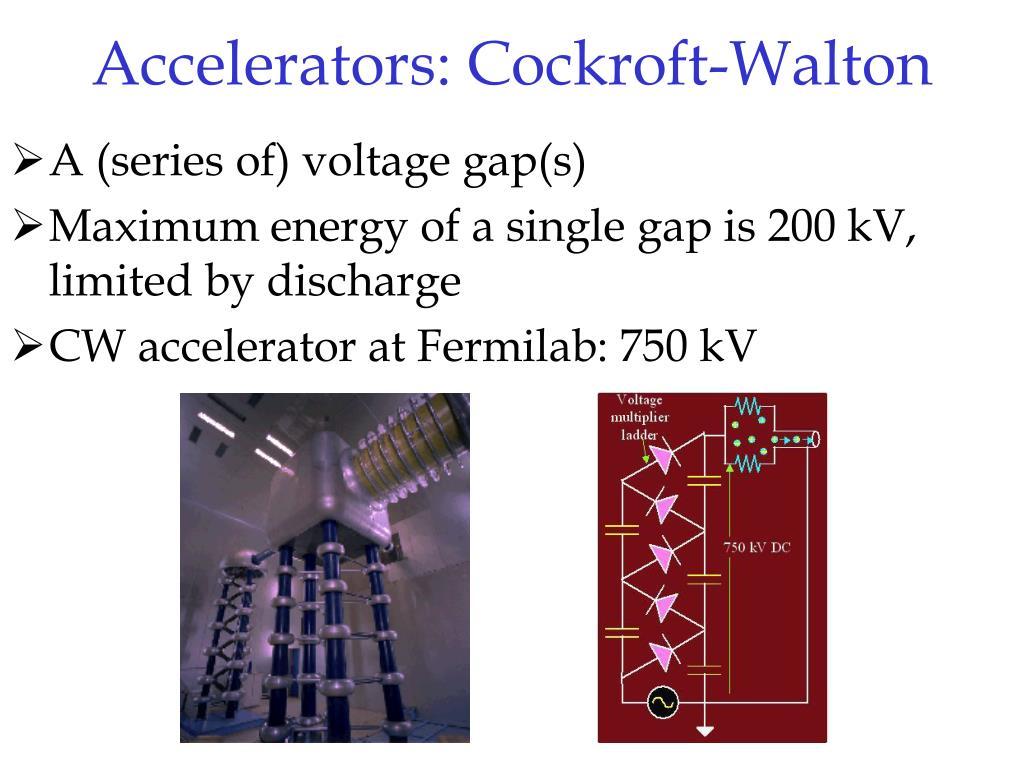 Accelerators: Cockroft-Walton