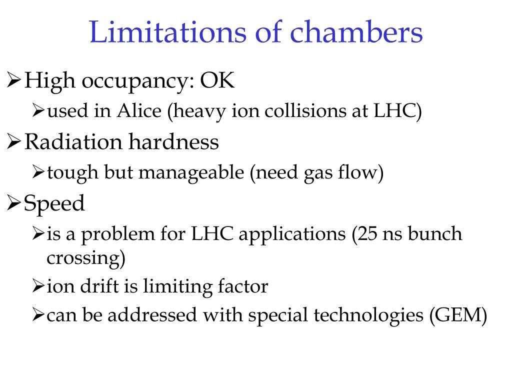 Limitations of chambers
