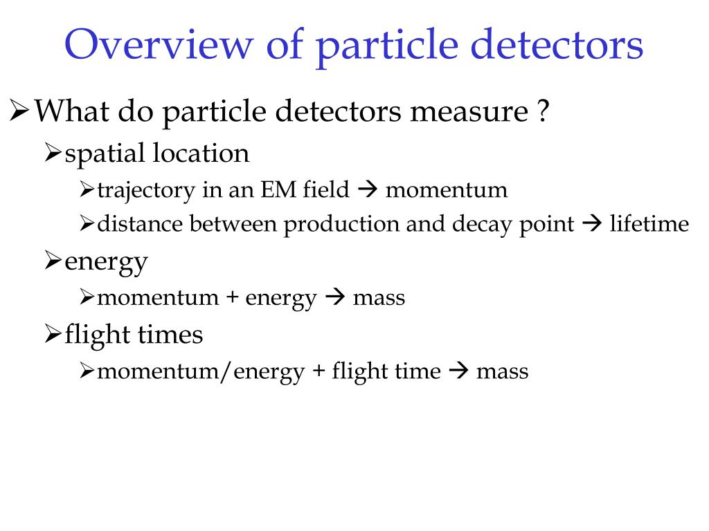 Overview of particle detectors