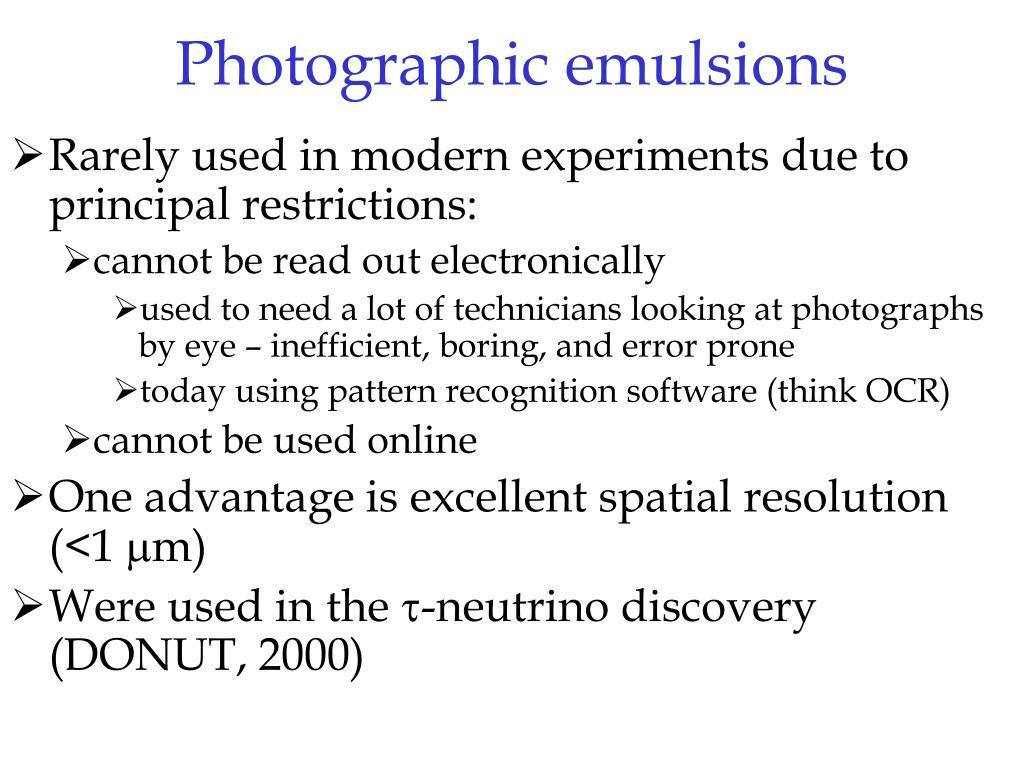 Photographic emulsions