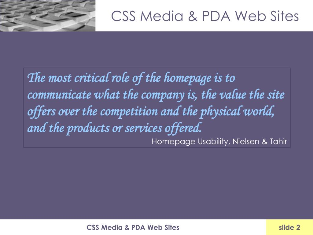CSS Media & PDA Web Sites