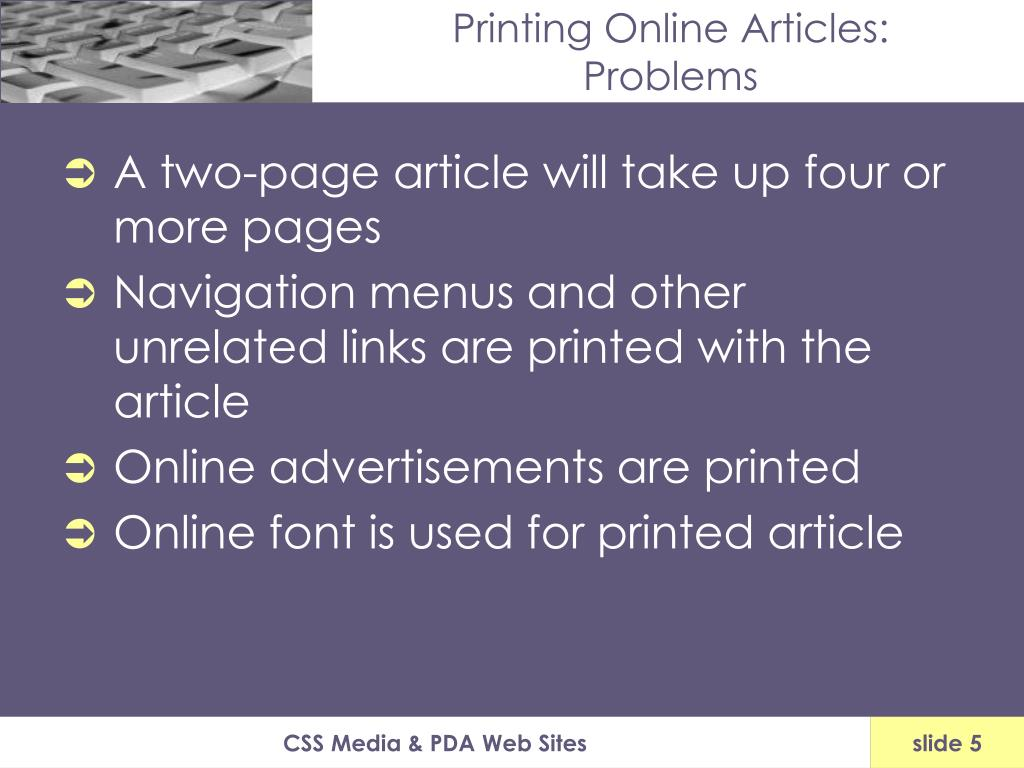 Printing Online Articles:
