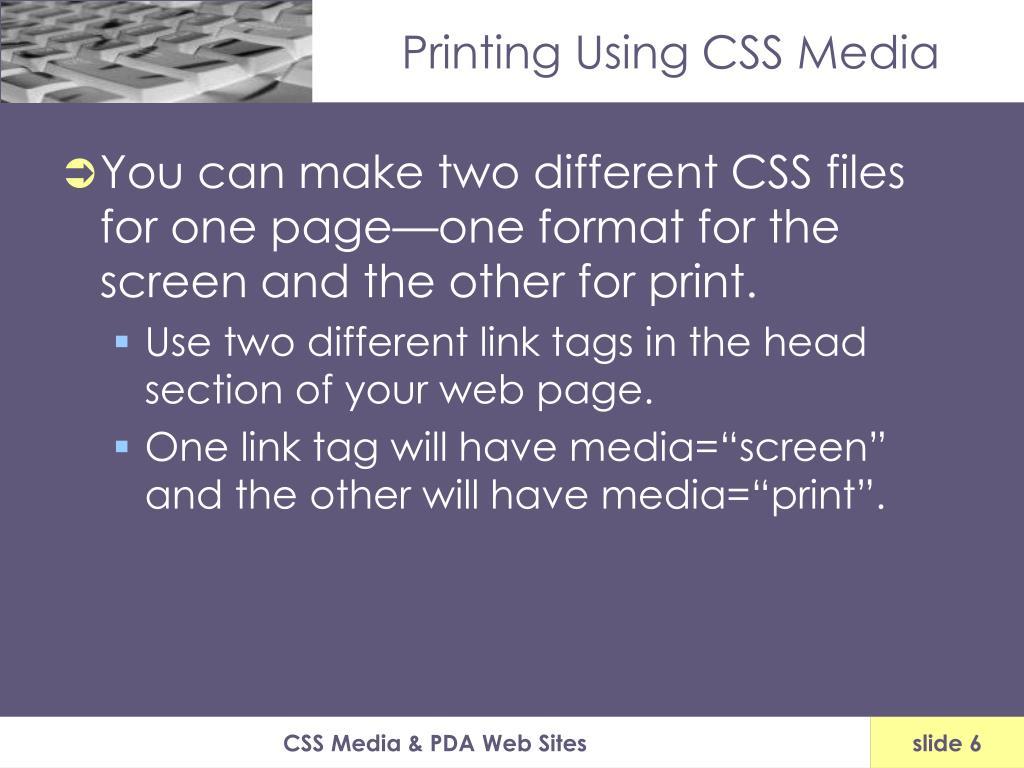 Printing Using CSS Media