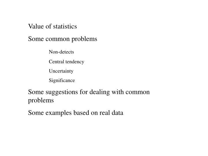 Value of statistics