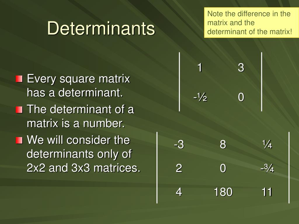 Note the difference in the matrix and the determinant of the matrix!