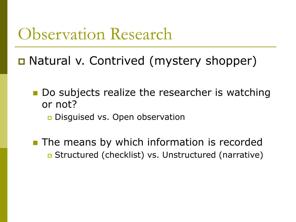 Observation Research