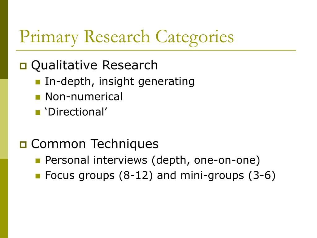 Primary Research Categories