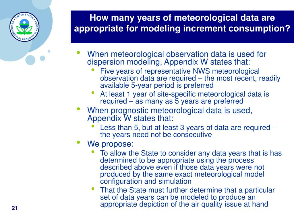 How many years of meteorological data are appropriate for modeling increment consumption?