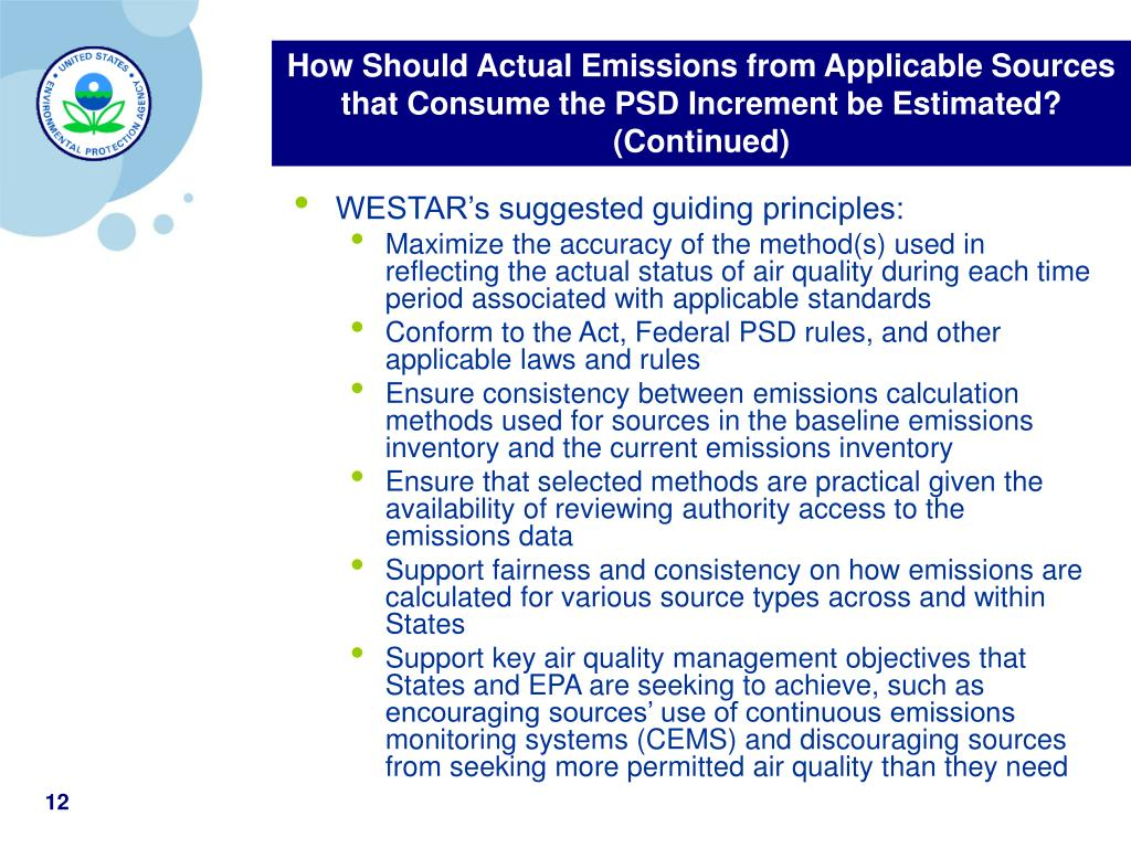 How Should Actual Emissions from Applicable Sources that Consume the PSD Increment be Estimated? (Continued)