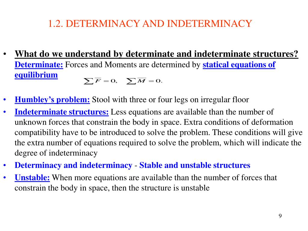 1.2. DETERMINACY AND INDETERMINACY