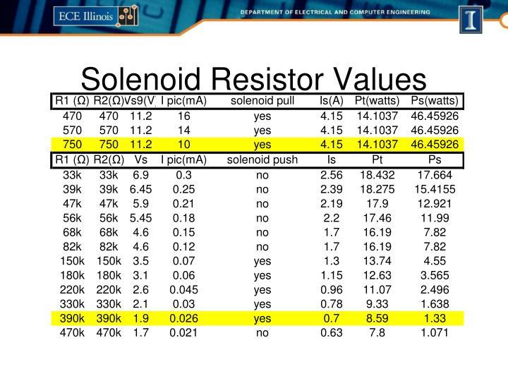 Solenoid Resistor Values