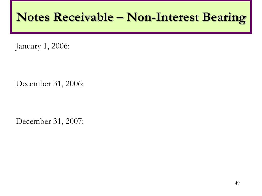 Notes Receivable – Non-Interest Bearing