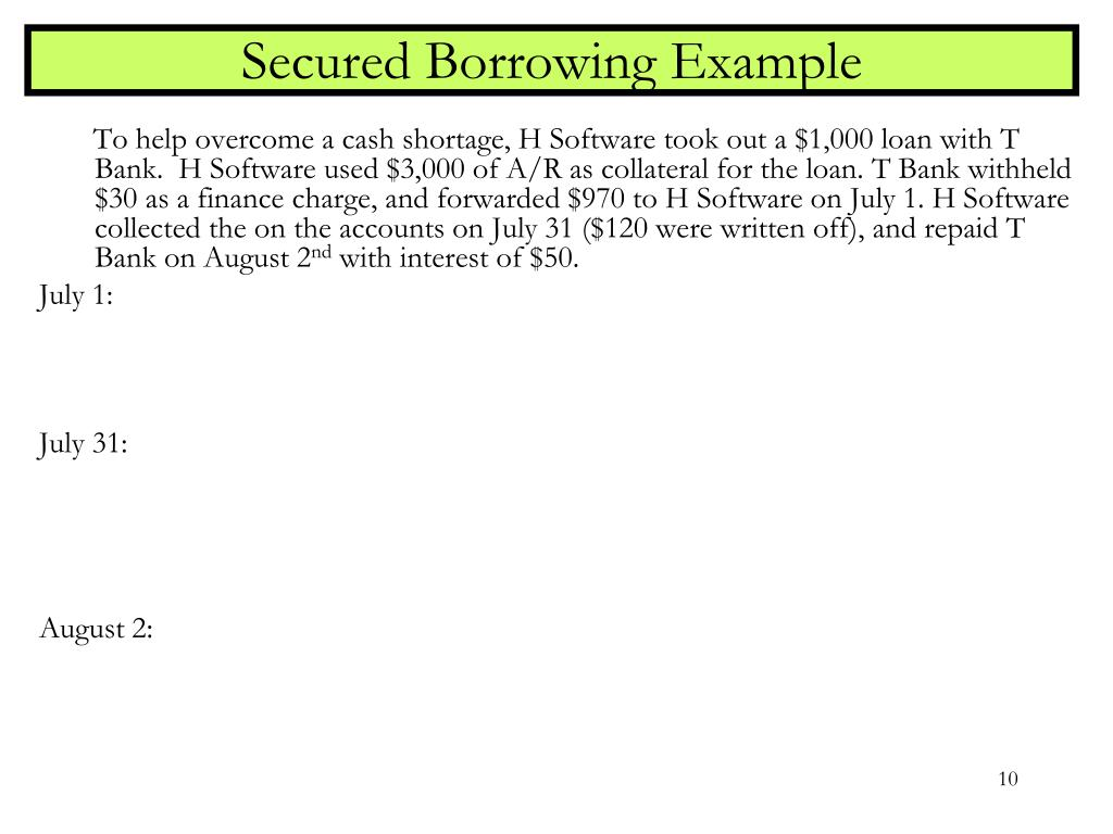 Secured Borrowing Example