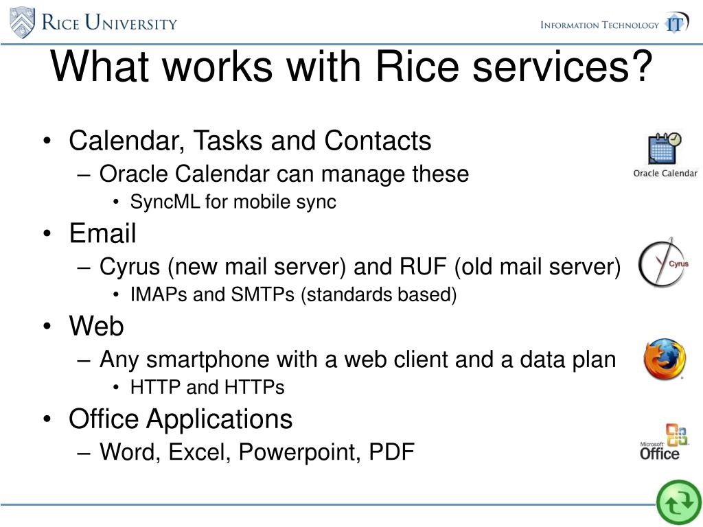 What works with Rice services?