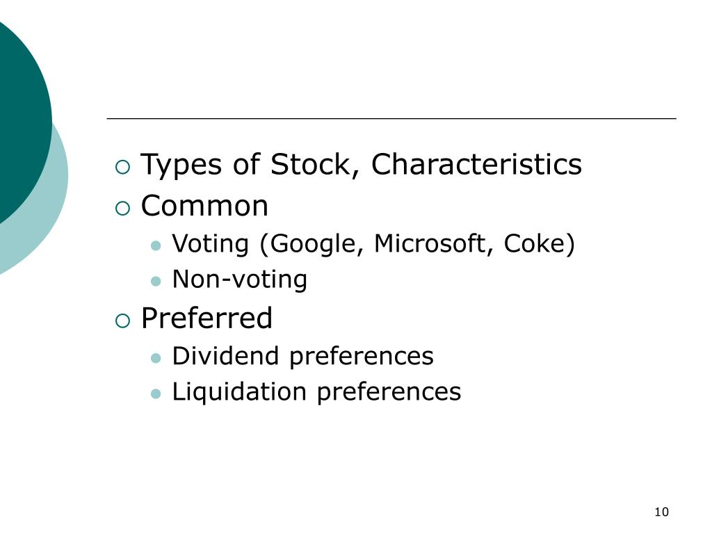 Types of Stock, Characteristics