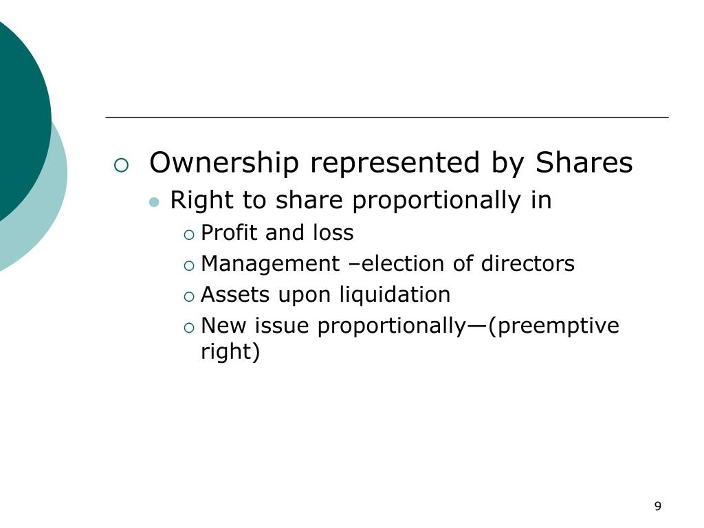 Ownership represented by Shares
