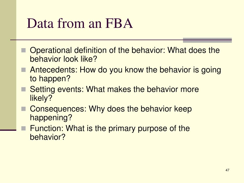 Data from an FBA
