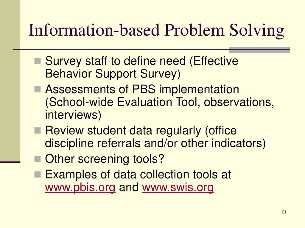 Information-based Problem Solving