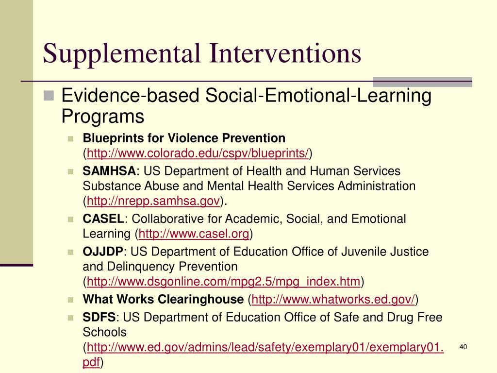 Supplemental Interventions