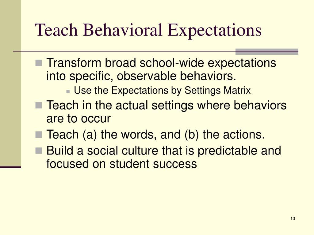 Teach Behavioral Expectations