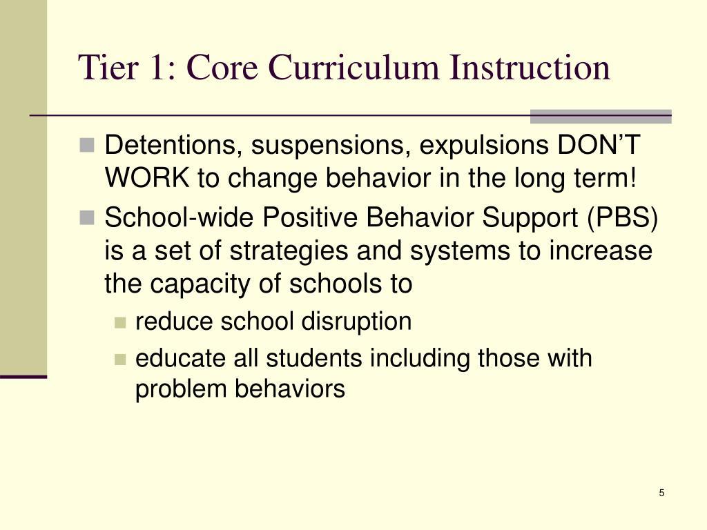 Tier 1: Core Curriculum Instruction