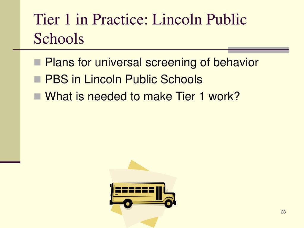 Tier 1 in Practice: Lincoln Public Schools