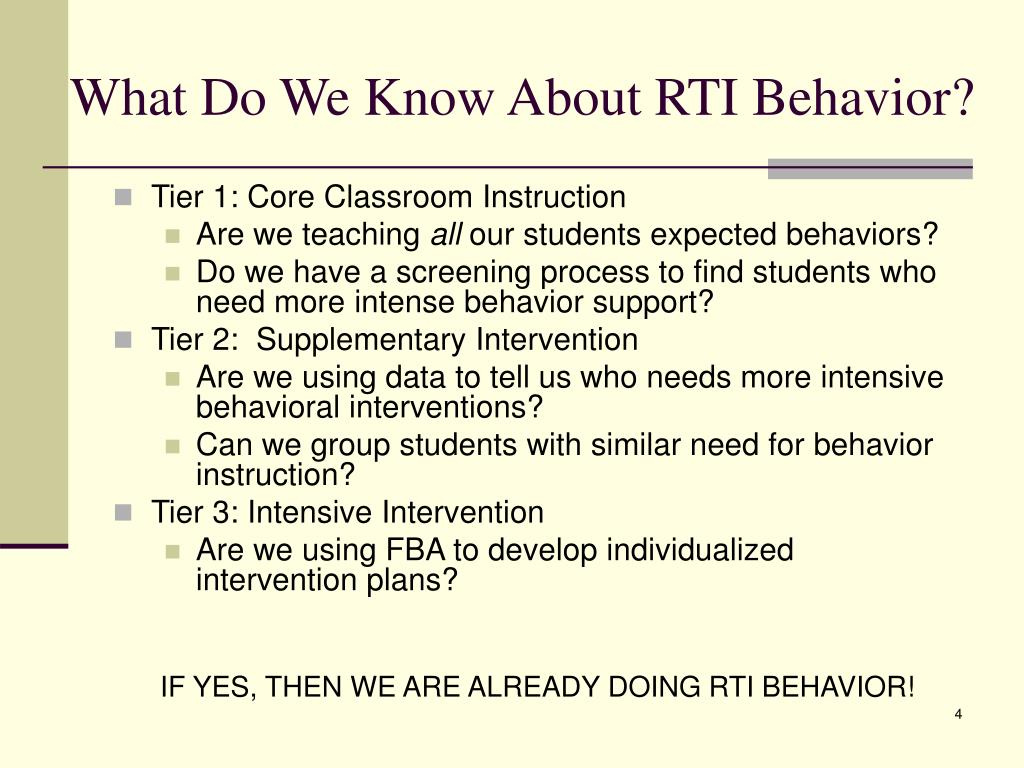 What Do We Know About RTI Behavior?