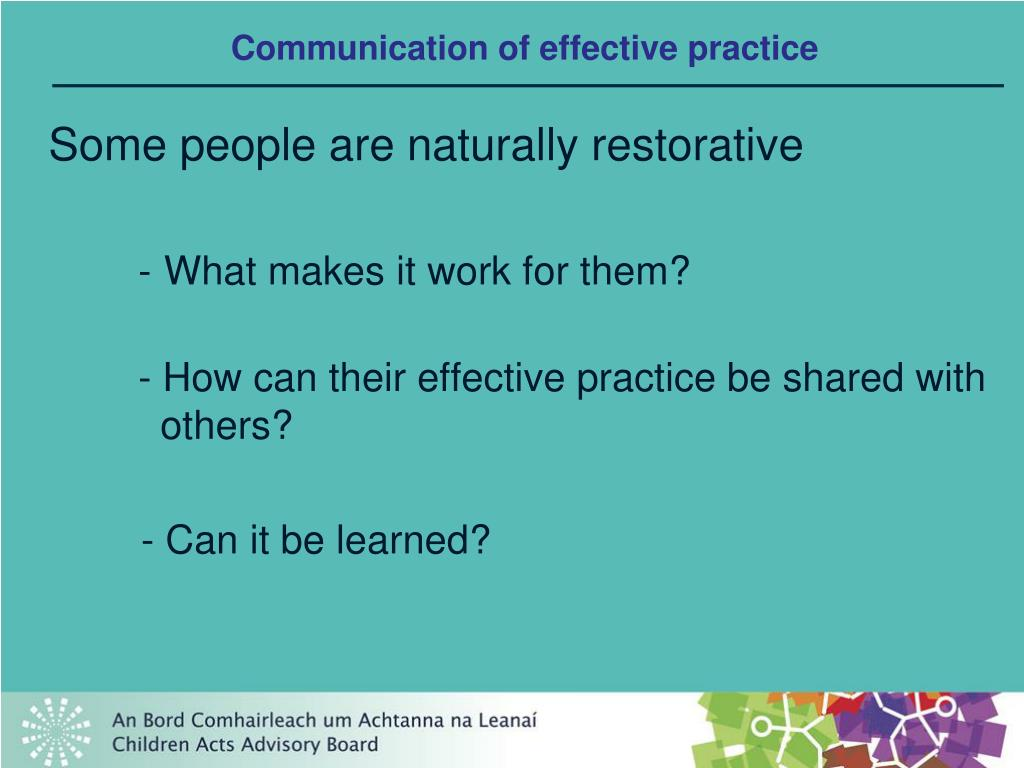 Communication of effective practice