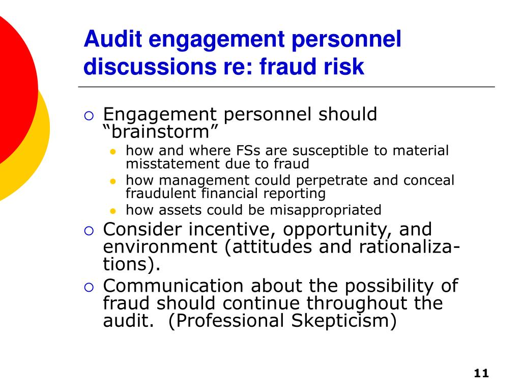 Audit engagement personnel discussions re: fraud risk