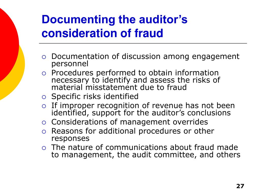 Documenting the auditor's consideration of fraud
