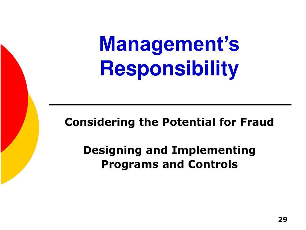 Management's Responsibility