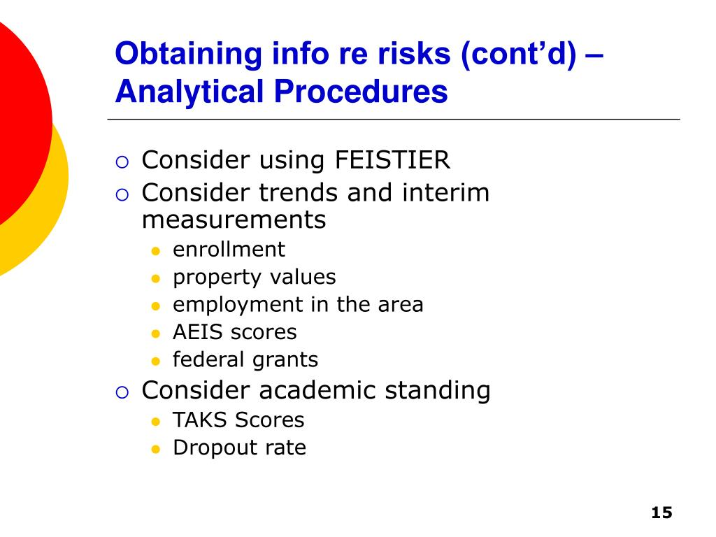 Obtaining info re risks (cont'd) – Analytical Procedures