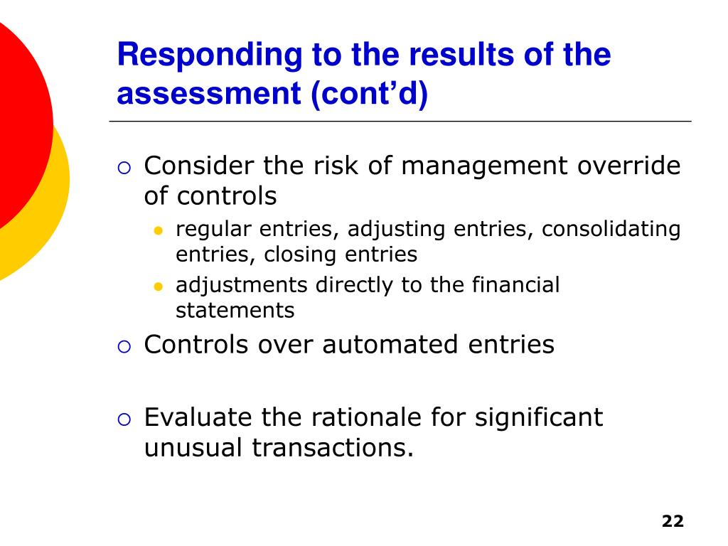 Responding to the results of the assessment (cont'd)